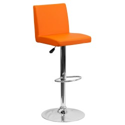 Contemporary Orange Vinyl Adjustable Height Bar Stool with Chrome Base