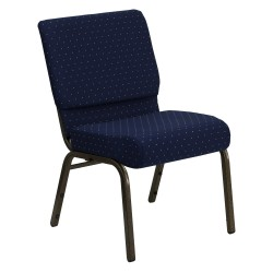 21'' Extra Wide Navy Blue Dot Patterned Fabric Stacking Church Chair with 4'' Thick Seat - Gold Vein Frame