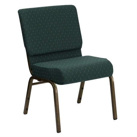 21'' Extra Wide Hunter Green Dot Patterned Fabric Stacking Church Chair with 4'' Thick Seat - Gold Vein Frame