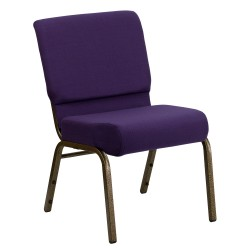 21'' Extra Wide Royal Purple Fabric Stacking Church Chair with 4'' Thick Seat - Gold Vein Frame