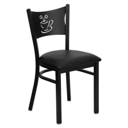 Black Coffee Back Metal Restaurant Chair - Black Vinyl Seat