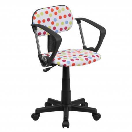 Multi-Colored Dot Printed Computer Chair with Arms