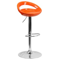 Contemporary Orange Plastic Adjustable Height Bar Stool with Chrome Base