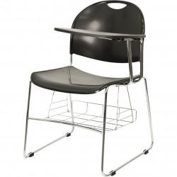 Black High Density Left Facing Flip-Up Tablet Arm Chair with Chrome Frame
