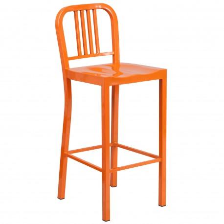 30'' Orange Metal Bar Stool