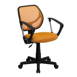 Mid-Back Orange Mesh Task Chair and Computer Chair with Arms