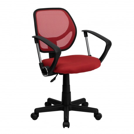 Mid-Back Red Mesh Task Chair and Computer Chair with Arms