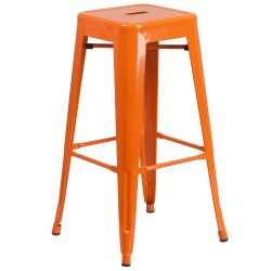 30'' Backless Orange Metal Bar Stool
