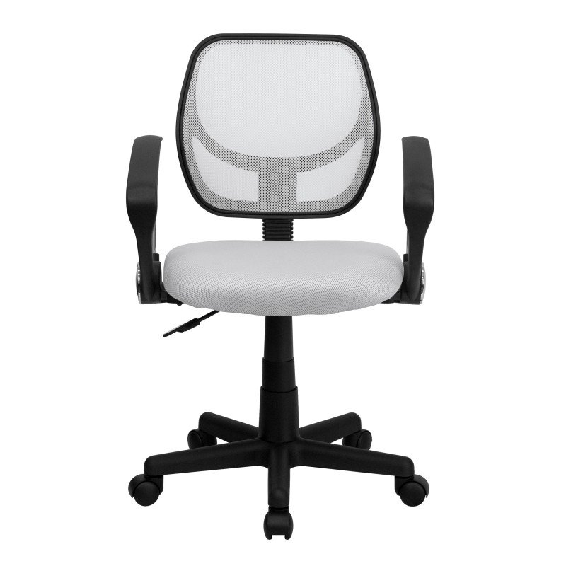 ... Mid Back White Mesh Task Chair And Computer Chair With Arms