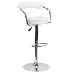 Contemporary White Vinyl Adjustable Height Bar Stool with Arms and Chrome Base