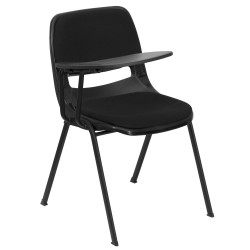 Padded Black Ergonomic Shell Chair with Right Handed Flip-Up Tablet Arm