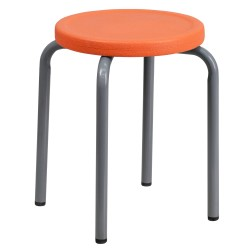 Stackable Stool with Orange Seat and Silver Powder Coated Frame