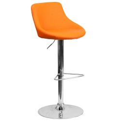 Contemporary Orange Vinyl Bucket Seat Adjustable Height Bar Stool with Chrome Base