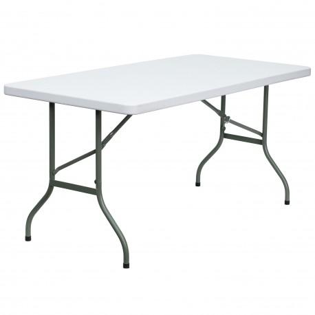 30''W x 60''L Granite White Plastic Folding Table