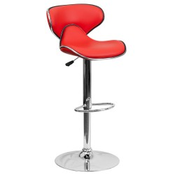 Contemporary Cozy Mid-Back Red Vinyl Adjustable Height Bar Stool with Chrome Base