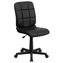 Mid-Back Black Quilted Vinyl Task Chair