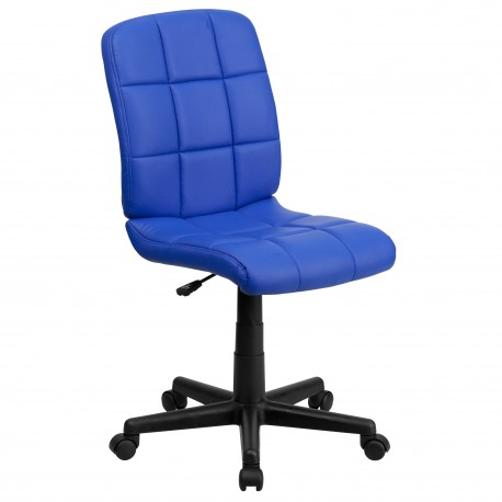 Mid-Back Blue Quilted Vinyl Task Chair