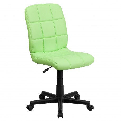 Mid-Back Green Quilted Vinyl Task Chair