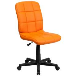 Mid-Back Orange Quilted Vinyl Task Chair