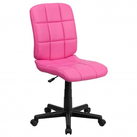 Mid-Back Pink Quilted Vinyl Task Chair