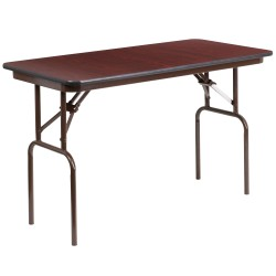 24'' x 48'' Rectangular Walnut Melamine Laminate Folding Banquet Table