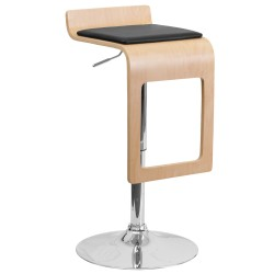 Beech Bentwood Adjustable Height Bar Stool with Black Vinyl Seat and Drop Frame