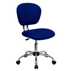 Mid-Back Blue Mesh Task Chair with Chrome Base