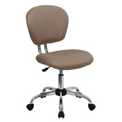 Mid-Back Coffee Brown Mesh Task Chair with Chrome Base