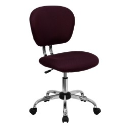 Mid-Back Burgundy Mesh Task Chair with Chrome Base