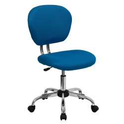 Mid-Back Turquoise Mesh Task Chair with Chrome Base