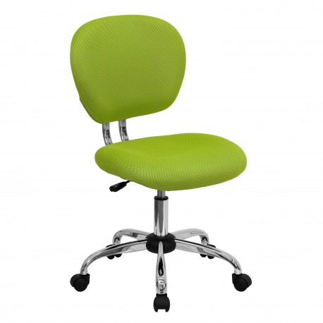 Mid-Back Apple Green Mesh Task Chair with Chrome Base