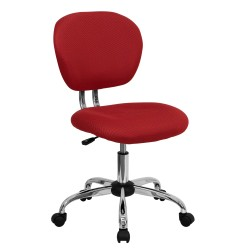 Mid-Back Red Mesh Task Chair with Chrome Base