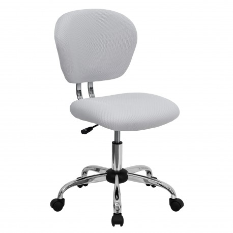 Mid-Back White Mesh Task Chair with Chrome Base