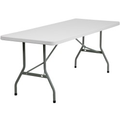 30''W x 72''L Granite White Plastic Folding Table