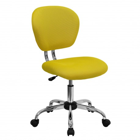 Mid-Back Yellow Mesh Task Chair with Chrome Base