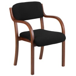 Contemporary Black Fabric Wood Side Chair with Walnut Frame