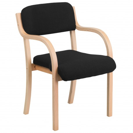 Contemporary Black Fabric Wood Side Chair with Beech Frame