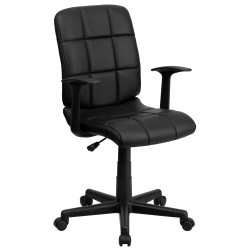 Mid-Back Black Quilted Vinyl Task Chair with Nylon Arms