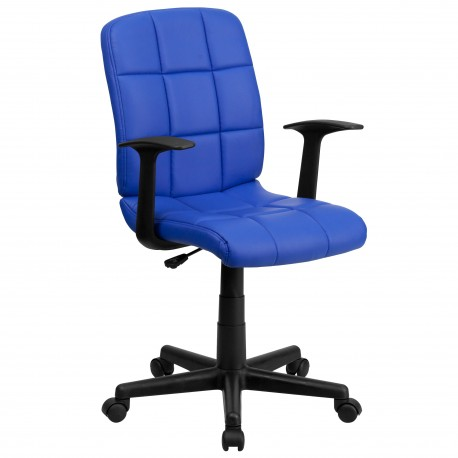 Mid-Back Blue Quilted Vinyl Task Chair with Nylon Arms