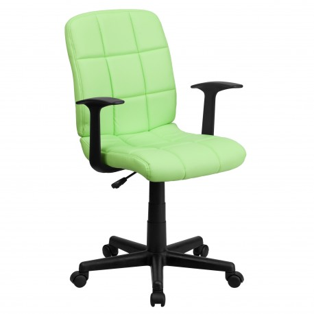 Mid-Back Green Quilted Vinyl Task Chair with Nylon Arms