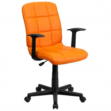 Mid-Back Orange Quilted Vinyl Task Chair with Nylon Arms
