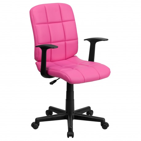 Mid-Back Pink Quilted Vinyl Task Chair with Nylon Arms