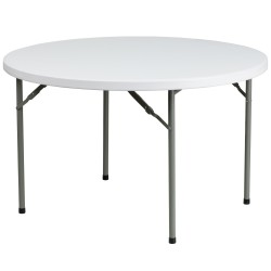 48'' Round Granite White Plastic Folding Table
