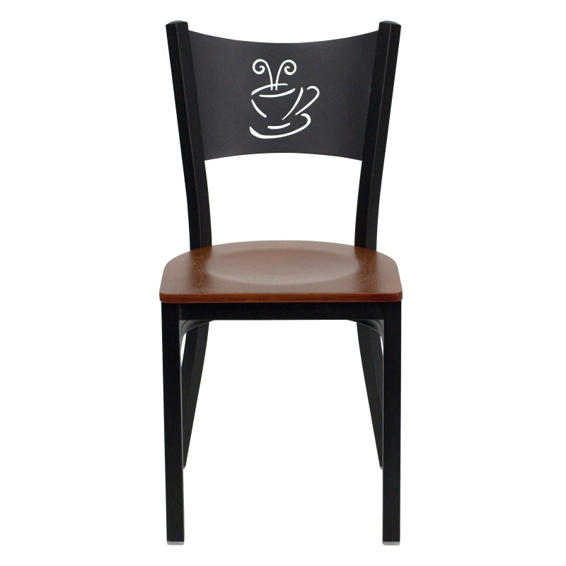 black coffee back metal restaurant chair cherry wood seat