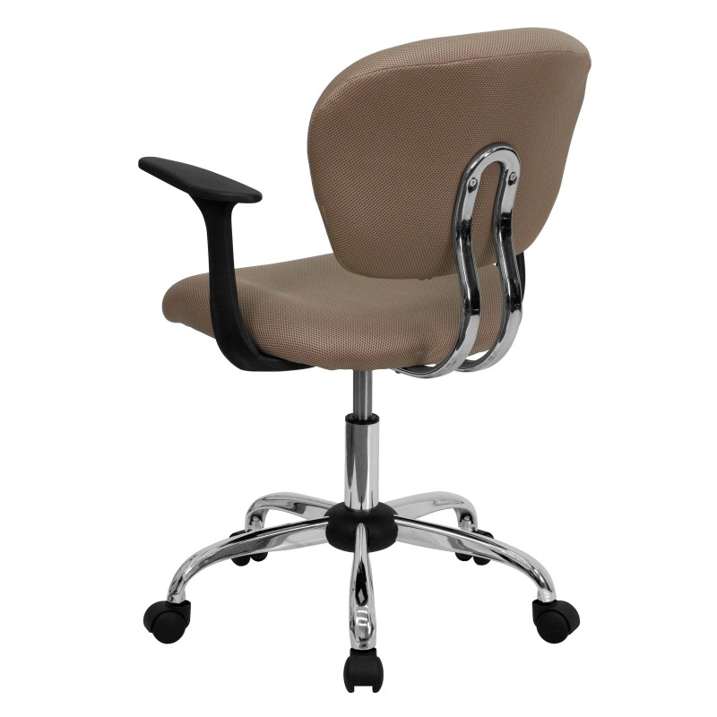 ... Mid Back Coffee Brown Mesh Task Chair With Arms And Chrome Base ...