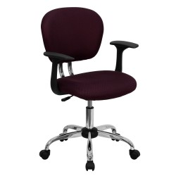 Mid-Back Burgundy Mesh Task Chair with Arms and Chrome Base