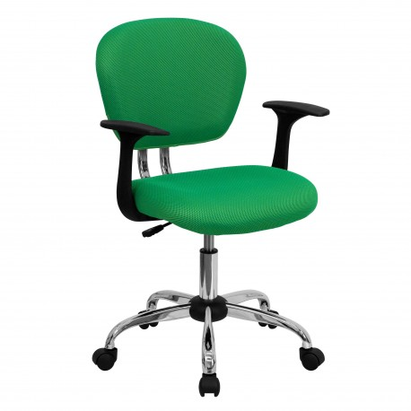 Mid-Back Bright Green Mesh Task Chair with Arms and Chrome Base