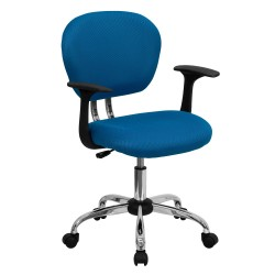 Mid-Back Turquoise Mesh Task Chair with Arms and Chrome Base