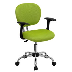 Mid-Back Apple Green Mesh Task Chair with Arms and Chrome Base