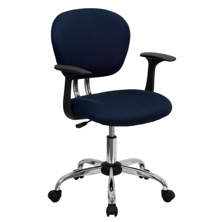 Mid-Back Navy Mesh Task Chair with Arms and Chrome Base